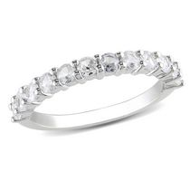 Miabella 1.10 Carat T.G.W. Created White Sapphire Sterling Silver Wedding Band 7