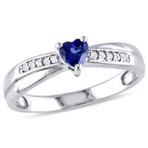 Tangelo 0.25 Carat T.G.W. Heart-Cut Created Blue Sapphire and Diamond Accent Sterling Silver Engagement Ring 6.5