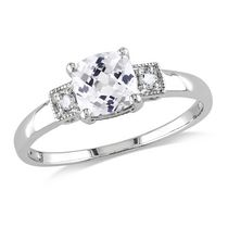 Miabella 1.25 Carat T.G.W. Cushion-Cut Created White Sapphire and Diamond Accent Sterling Silver Engagement Ring 7.5
