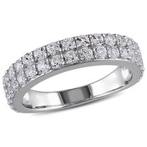 Miabella 1.50 Carat T.G.W. Created White Sapphire Sterling Silver Double-Row Semi-Eternity Ring 4.5