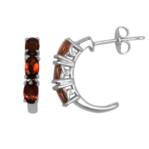 Sterling Silver Genuine Garnet Half Hoop Earrings