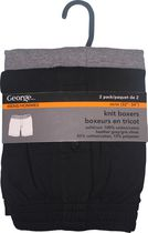 George Men's Knit Boxer Shorts - Pack of 2 Black/Grey 2XL