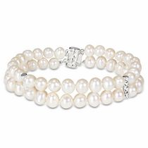 Miabella 6-7mm White Cultured Freshwater Pearl Sterling Silver Fashion Bracelet; 7.5""