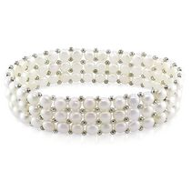 Miabella 5-5.5mm White Button Cultured Freshwater Pearl Brass Elastic 3-Row Bracelet; 7""