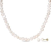 Miabella 7-8mm White Button Cultured Freshwater Pearl Brass Set of Necklace and Earrings; 18""
