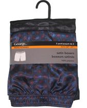 George Men's Satin Boxer Shorts - Pack of 2 Black S