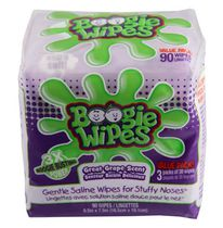 Boogie Wipes Great Grape Scented Gentle Saline Wipes for Stuffy Noses