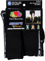 Fruit of the Loom Boys 6-Pack Black Crew Socks