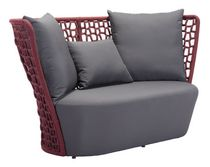 Zuo Modern Outdoor 1-Piece Synthetic Weave Cranberry and Grey Faye Bay Beach Sofa