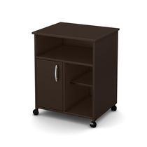 South Shore Fiesta Microwave Cart with Storage on Wheels Chocolate