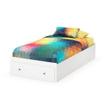 South Shore Little Monsters Collection Twin Mates Bed Pure White with 1 Drawer