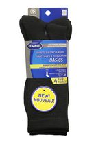 Dr.Scholl's Men's Diabetes & Circulatory Crew Socks, Pack of 4 Black