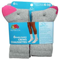 Fruit of the Loom Ladies Crew Socks, 6 Pairs