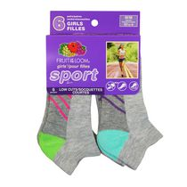 Fruit of the Loom Girls' Low Cuts Sport Socks - 6 Pair 4-10