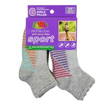 Fruit of the Loom Girls' Ankles Sport Socks - 6 Pair 4-10