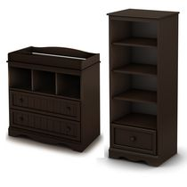 South Shore Savannah Changing Table and Shelving Unit with Drawer, Espresso