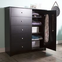South Shore Vito Door Chest with 5 Drawers Black