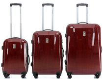 Champs Swiss Collection Hardside Spinner Luggage Case Set of 3 Red