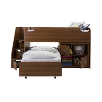 "South Shore Mobby Twin Loft Bed with Trundle and Storage Unit, 39"" Cherry"