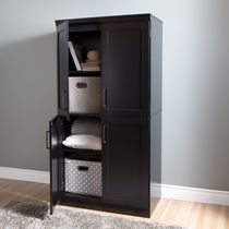 Armoire de rangement avec 4 portes Shaker de la collection Morgan de Meubles South Shore Pure Black