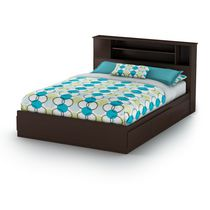 South Shore Vito Queen Mates Bed with Drawers and Bookcase Headboard - 60 inch Set