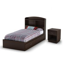 South Shore Logik Twin Mates Bed, Bookcase Headboard (39 in.) and Nightstand Set