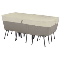 Classic Accessories Belltown Rectangular/Oval Patio Table and Chair Cover - Medium, Grey