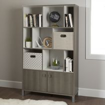 South Shore Expoz Weathered Oak and 9-Cube Shelving Unit with Doors Gray Maple and Pure White