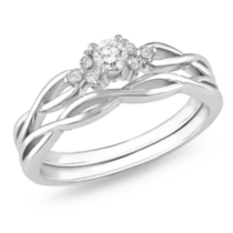 Miabella 1/6 CT TDW Diamond Bridal Ring Set in 10 K White Gold (G-H; I2-I3) 9