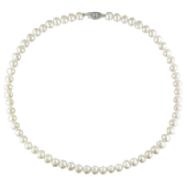 "Miabella 6.5-7 mm FW Pearl Necklace with Sterling Silver Fish Eye Clasp; 18"" in Length"