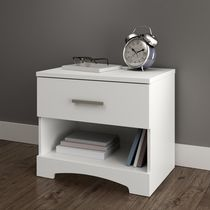 South Shore Gramercy Maple 1-Drawer Nightstand Pure White