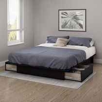 South Shore Gramercy 54/60-inches Platform Bed with Drawers Black