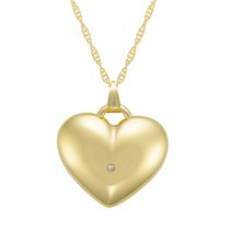 "10Kt Yellow Heart Charm with Crystal Accent on 18"" Gold Filled Chain"