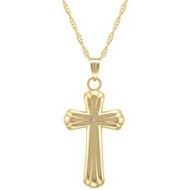 "10Kt Yellow Puffed Ribbed Cross with Crystal Accent on 18"" Gold Filled Chain"