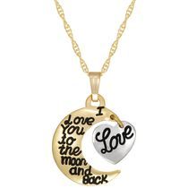 Pendentif « I love you to the Moon and Back » en or à deux tons 10 ct sur chaîne en or rempli, 18 po