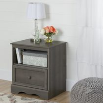 South Shore Savannah Gray Maple 1-Drawer Nightstand