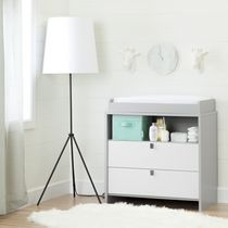 South Shore Cookie Soft Gray and Pure White Changing Table
