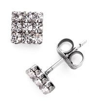 Brass White Rhodium Plated Crystal Stud Earrings