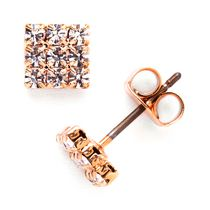 Brass Rose Gold Plated Crystal Stud Earrings