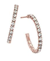 Brass 20 mm Rose Plated J-Hoop Earrings with Crystal