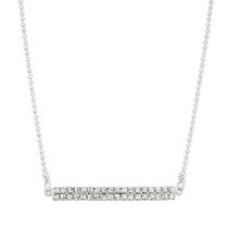 Brass and Silver Plated Two Row Crystal Necklace