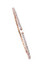 Brass Single Row Rose Plated Flex Bangle with Crystals