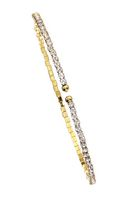 Brass Single Row 14kt Gold Plated Flex Bangle with Crystals