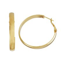 Brass and 14kt Gold Plated Polished 5mm X 40mm Flat Tube Hoop Earringss