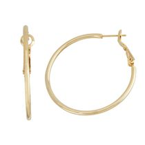 Brass and 14kt Gold Plated Polished 2mm X 40mm Hoop Earringss