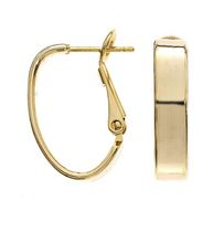 Brass and 14KT Gold Plated 5mm Small Rectangle Tube Oval Hoop Earrings