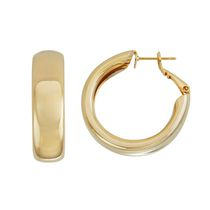 Brass and 14kt Gold Plated Polished 9mm X 30 mm Hoop Earrings