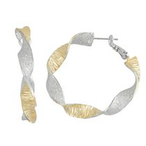 Brass Two-Tone Textured Twisted 40mm Hoop Earrings