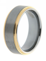 Men's Tungsten 8mm Laser Polished Gold Plated Ring 12