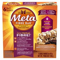 Metamucil Meta Fibre Bar 3 in 1 Multi Benefit Fibre - Cinnamon Oatmeal Raisin, Count of 6, 240 g